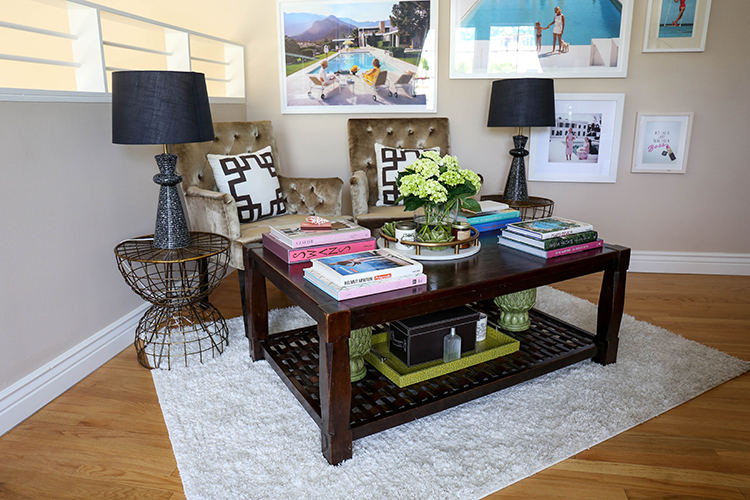 Her living room displays a love for interior design