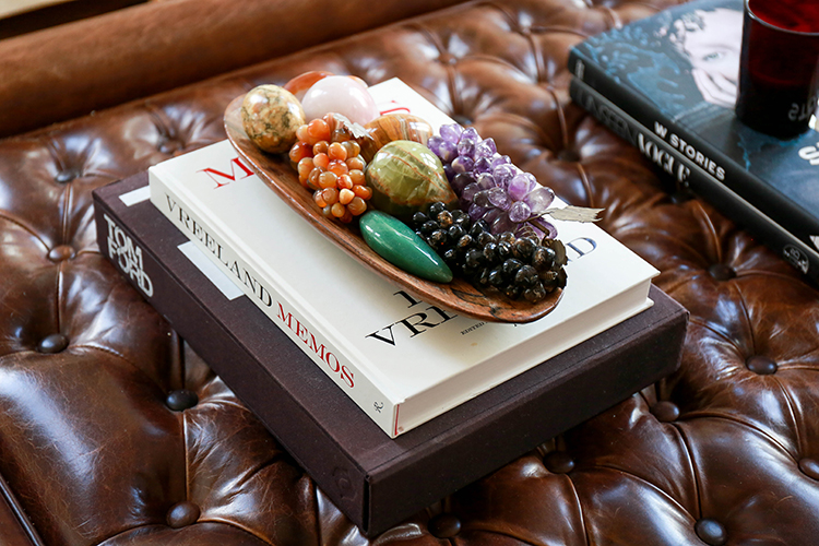 Coffee table books surround Louise's pretty-as-a-picture home