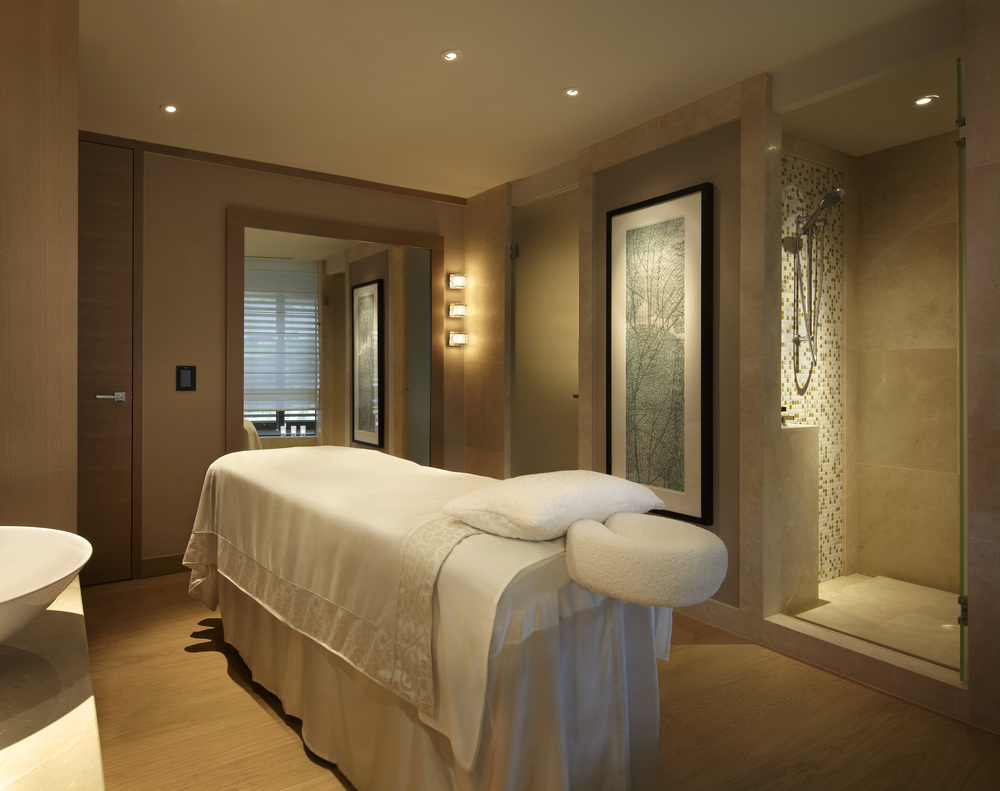 The Spa Treatment Room features a calm colour palette of natural textures