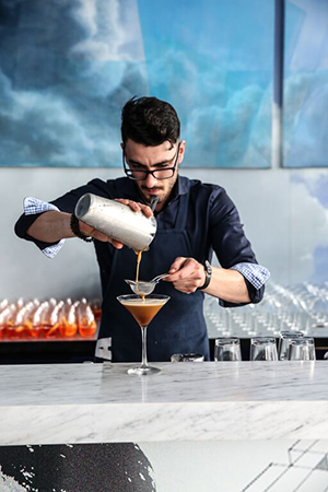 Delicious coffee martinis in the making at the Lavazza Marquee