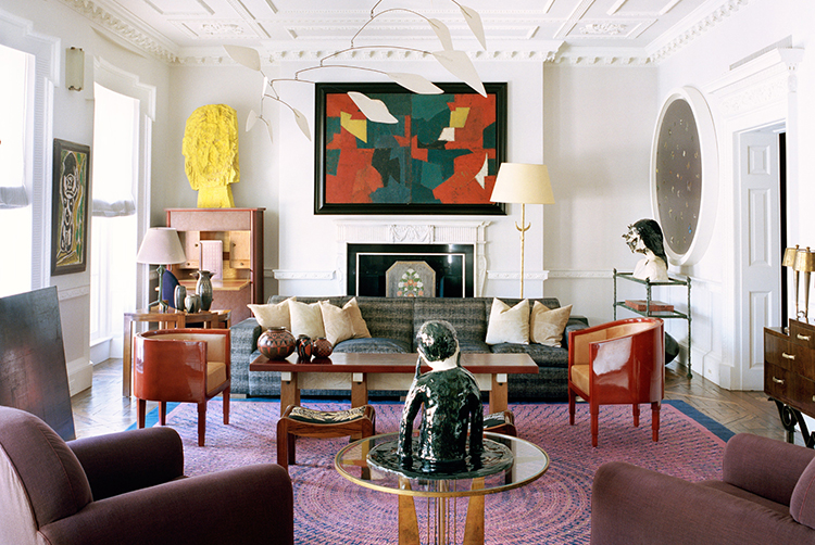 The walls of her Manhattan apartment - photographed by François Halard for W magazine - contain works by  Alexander Calder,  Serge Poliakoff, Damien Hirst, Klara Kristalova and more.