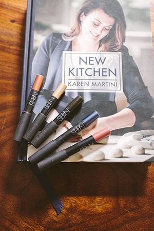 CULINARY QUEEN; KAREN'S LATEST BOOK 'NEW KITCHEN' AND AN ARRAY OF NARS EYE PENCILS