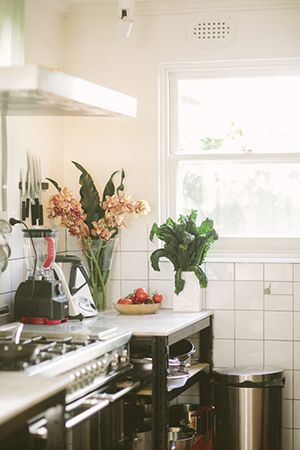 where the magic happens; inside karen's kitchen featuring fresh kale stalks and tomatoes