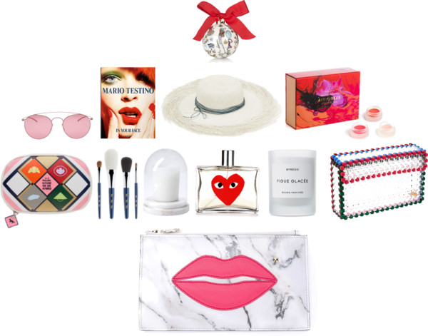 Lanvin Printed Porcelain bauble, Maison margiela pink sunglasses, taschen Mario Testino In Your Face book, Bec and Bridge Artesano Playa Hat 3, Mecca Cosmetica Air Kisses, Shu Uemera X15 Brush Set, Maison Balzac Marble cloche, Comme des Garcons Play Red fragrance, Byredo Limited Editied Figue Glacee candle, Lucy Folk Wild at Heart Cocktail Clutch, charlotte olympia pouty clutch