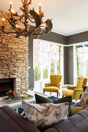 the decadent sutton suite has a charming fireplace