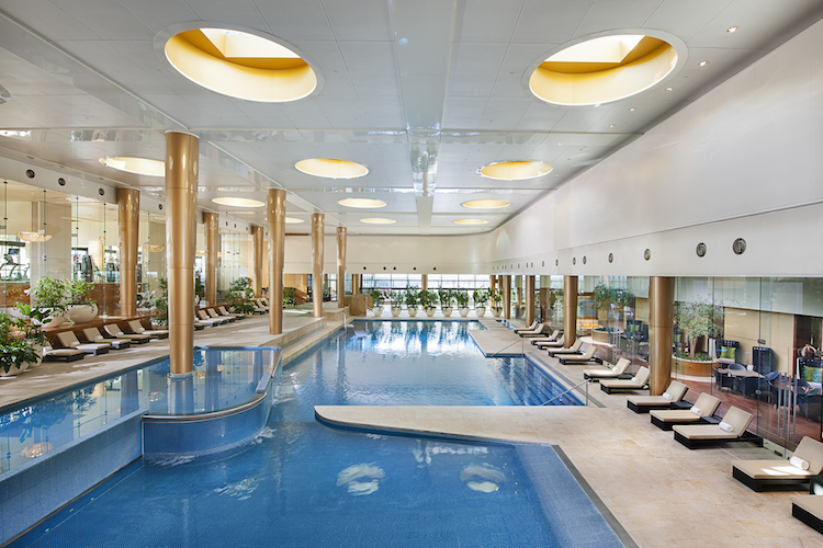 The heated indoor pool at the Crown Towers