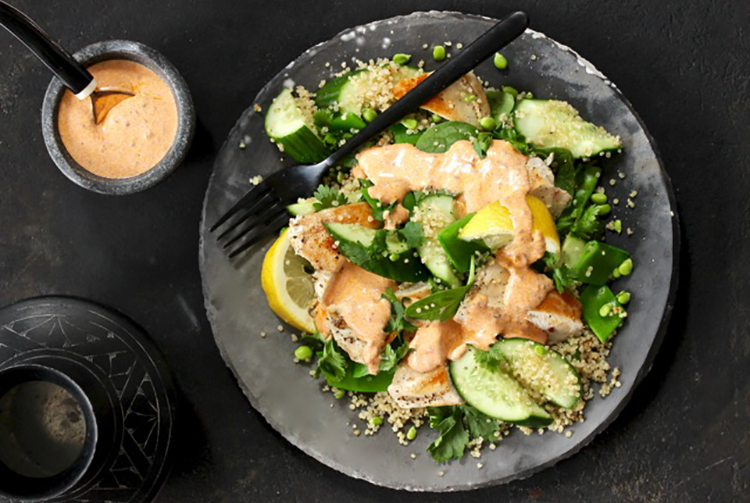 anti-aging, skin loving salad - harissa chicken with quinoa, cucumber and snowpea salad