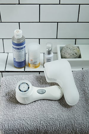 Dr Bronner's Soap, Invisible Zinc, Ultraceuticals and clarisonic are among her favourites