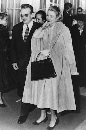 Grace, ever stylish, with the 'Kelly' Bag in tow