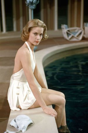 Grace loved swimming to stay slim- seen here in a shot for her film High Society