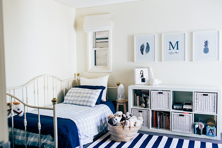 Max's room features a fresh navy and white theme