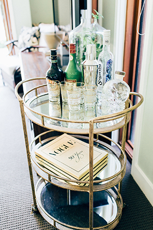 a drinks trolley in the living room