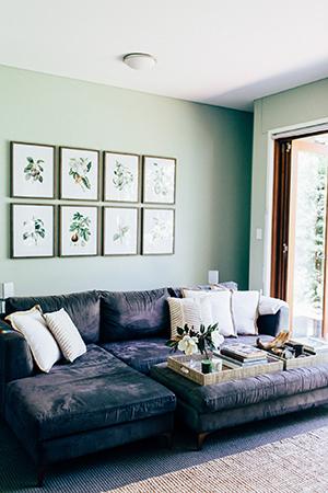 botanical prints adorn the walls