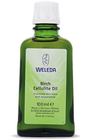 Massage on Weleda Birch Cellulite Oil  to work on dimpled skin