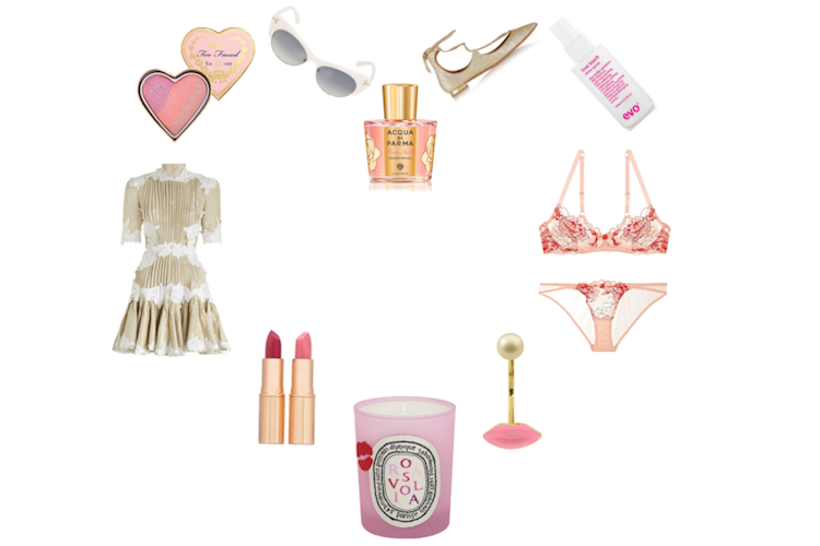 too faced sweethearts perfect flush blush ,  tom ford lola sunglasses ,  Acqua Di Parma's special Edition Rosa Nobile (available 9 feb at david jones),  aquazzura christy glittered point-toe flats ,  evo love touch shine spray ,  l'agent dani balcony bra ,  l'agent dani mini brief ,  DELFINA DELETTREZ LIPS PIERCING EARRING ,  diptyque rosaviola candle ,  charlotte tilbury date night duo ,  zimmermann mischief rosette laced dress