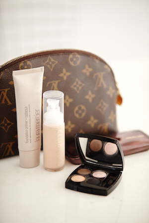 the lv and her makeup must haves; chanel eye shadow quad, ellis faas foundation, laura mercier primer and hourglass palette