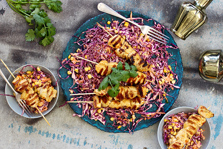 piri piri chicken skewers with corn and red cabbage slaw