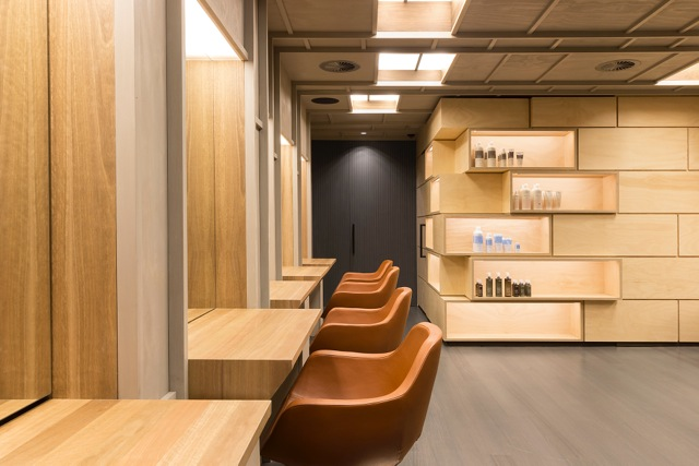 Light filled benches allow clients to admire freshly blow dried locks