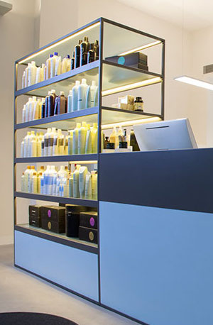 naturally sourced aveda products line the shelves