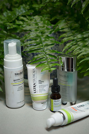 Medik8 and Ultraceuticals make up her skincare repertoire.