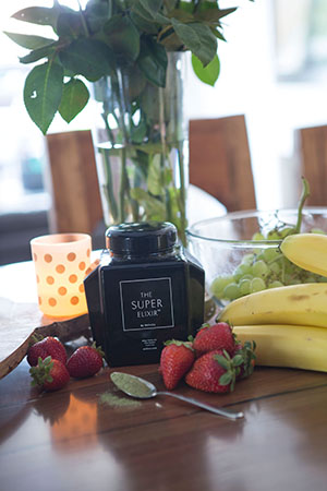 fresh fruit is a kitchen bench staple along with welleco's the super elixir
