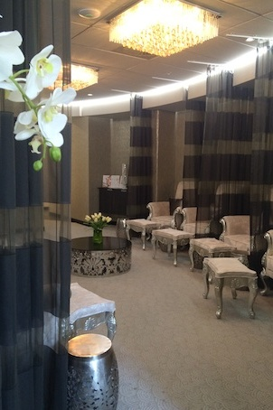 A stylish waiting room before getting to the serious skin saving treatments in the medispa
