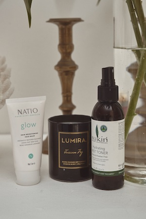 keeping it fresh: natio balm and sukin toner keep her skin soft and hydrated