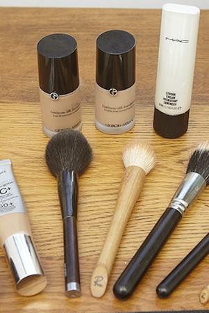 giorgio armani luminous silk foundation, mac strobe cream and rae morris brushes fill her makeup kit