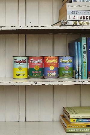 vintage campbells fill the kitchen, where ksenija loves putting together amazing meals