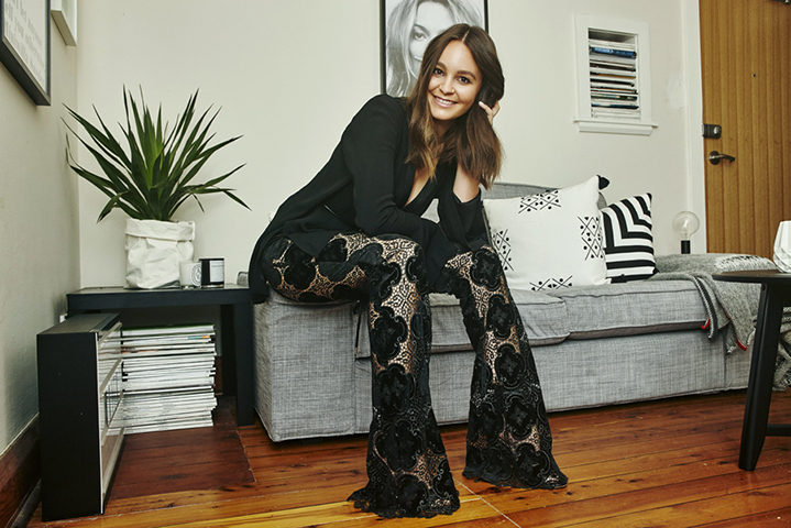 The beautiful Beck wears black Bec & Bridge blazer and lace flare pants due in May