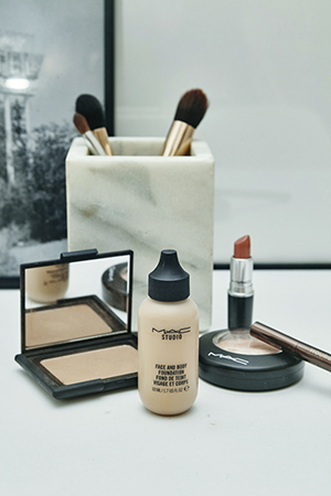 Mac, estee lauder and nars sit pretty on beck's vanity