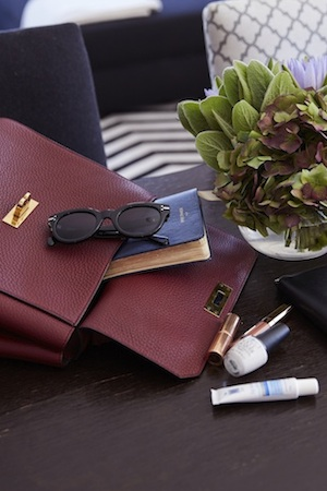 stylish life: Kate's most treasured essentials inside her bally burgundy bag