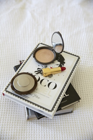 Her Beauty Bounty:  Becca Bronzer ,  A red lip and, of course, coco.