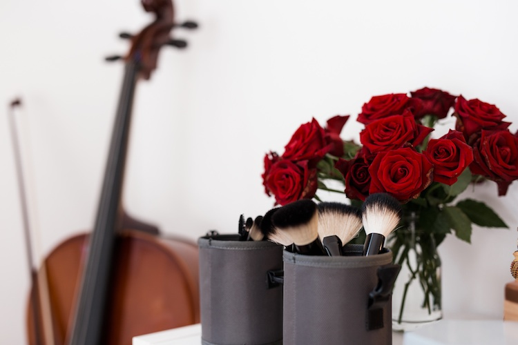 Makeup brushes and beautiful flowers compliment Elsa's stunning home