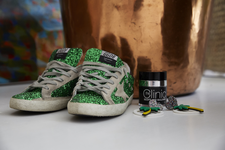 Sequin sneakers, her fave palm frond earrings and the cream she can't live without