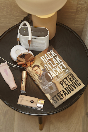 Charlotte Tilbury is Sylvia's go-to weekend foundation, while the headphones muffle Pete's netflix while she sleeps.