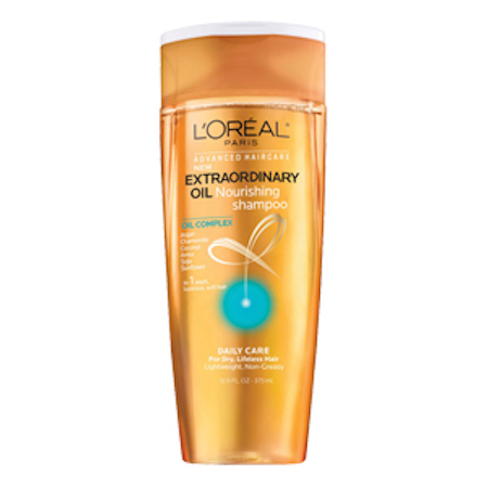 To achieve sarah's shiny hair use  L'oreal paris advanced haircare extraordinary oil shampoo and conditioner