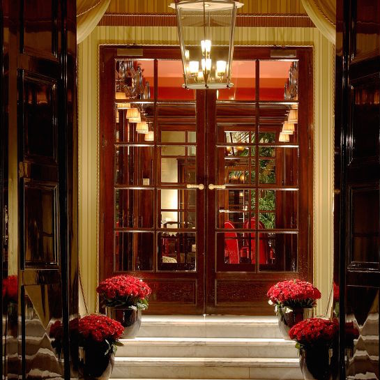 The opulent entrance to famed Parisian landmark Hotel Costes