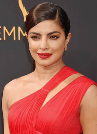 pryanka committed to a bold lip on the red carpet