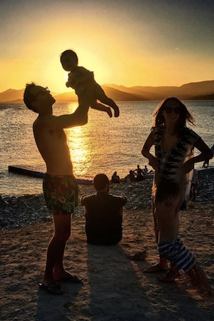 the cantelo family enjoying the superb ibiza sunset from sunset ashram