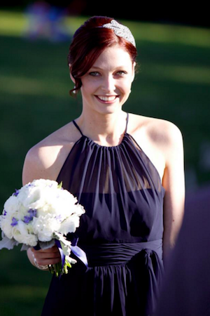 Walking down the aisle at my friend's wedding, newly red-headed.