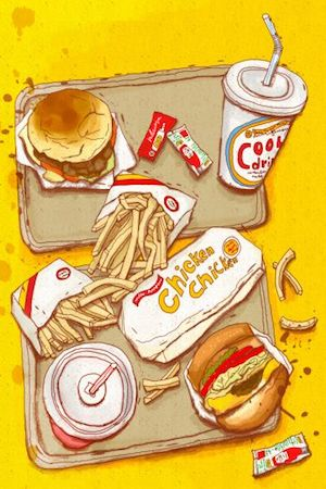 It's probably not that occasional burger and fries... Illustration via Pinterest