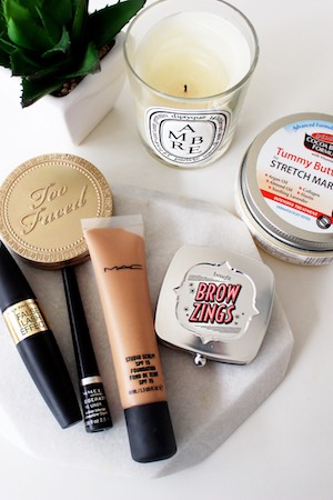 A few of Snez's favourite things: Benefit Brow Zings Shaping Kit; Too Faced Bronzer; MAC Studio Sculpt Foundation; Palmer's Cocoa Butter Tummy Butter