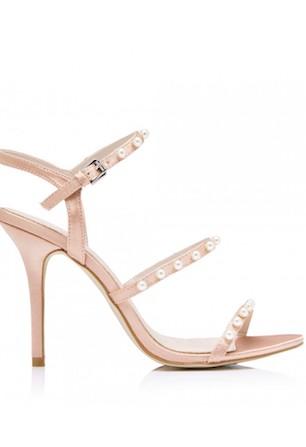 Audrey Strappy Pearl Trim Heels