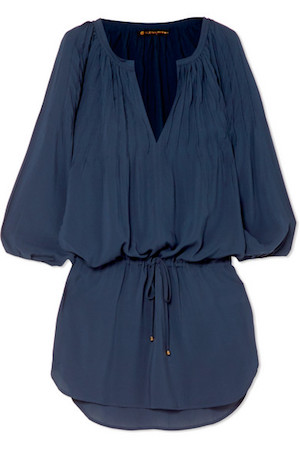 vix sara pintucked voile mini dress