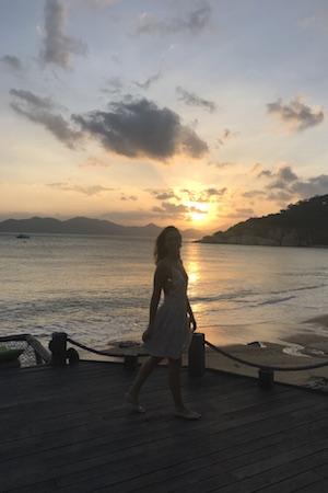 sunset over ninh van bay at six senses