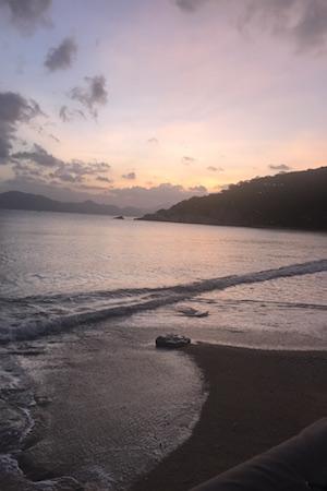 sunet over the beach at ninh van bay