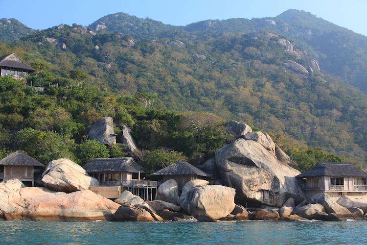 Rocky outcrops over Ninh Van Bay