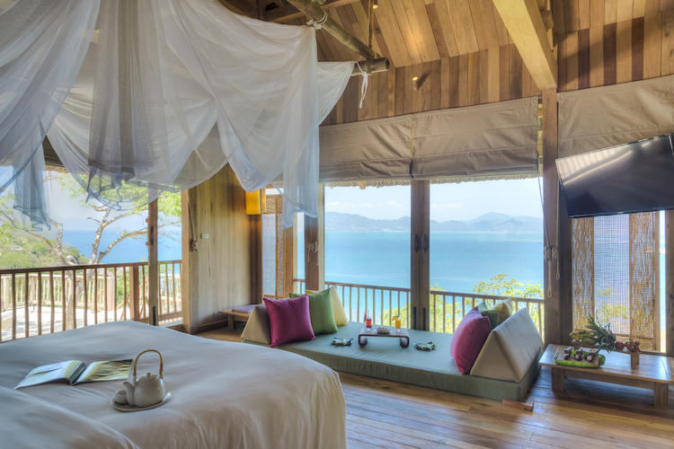 A view out the ocean from Six Senses Ninh Van Bay