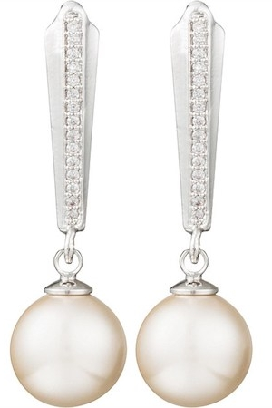 Gregory Ladner Deco Cz Drop Earring w Pearl